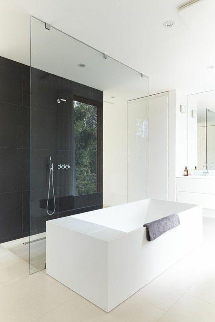 AuBergewohnlich Badgestaltung Ideen Bader Ideen Badezimmer In Weis Und Schwarz Eckige  Badewanne