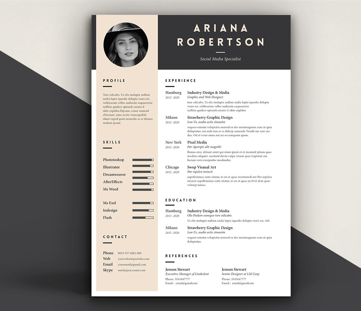 Cool Resume Templates Resume Template Iii On Behance  Graphic Design  Pinterest