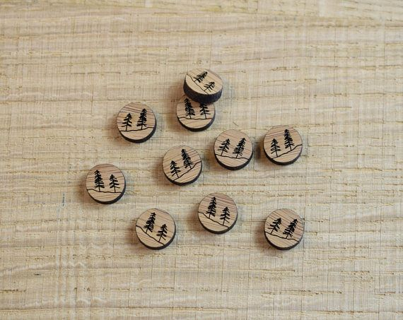 Alpine Tree Earring Blanks Bamboo Jewellery Supply Laser Cut Wooden Craft Supplies 1cm Circle Wood Charm 10pcs