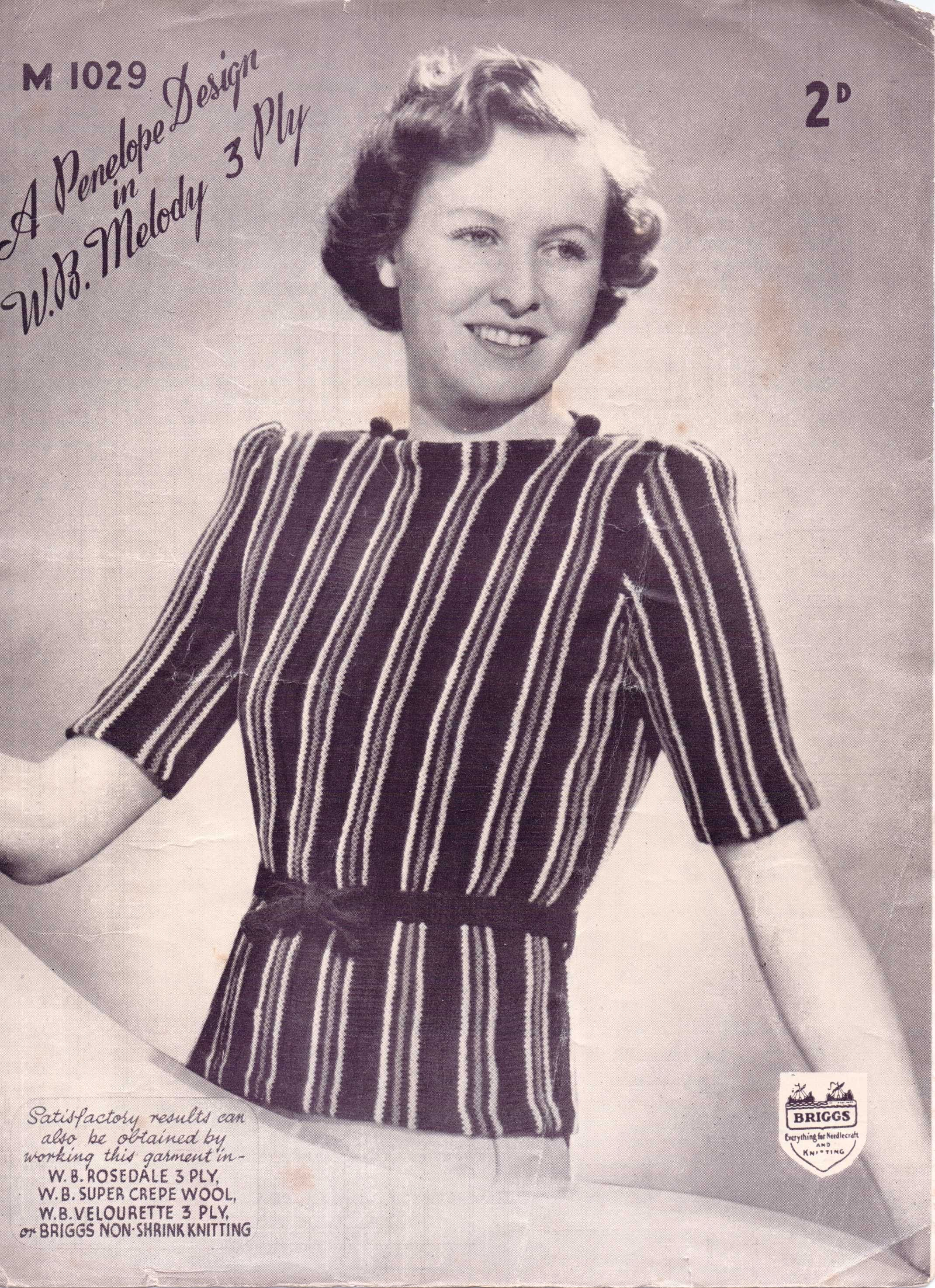 Free Knitting Pattern – a striped 3 ply top from which decade?