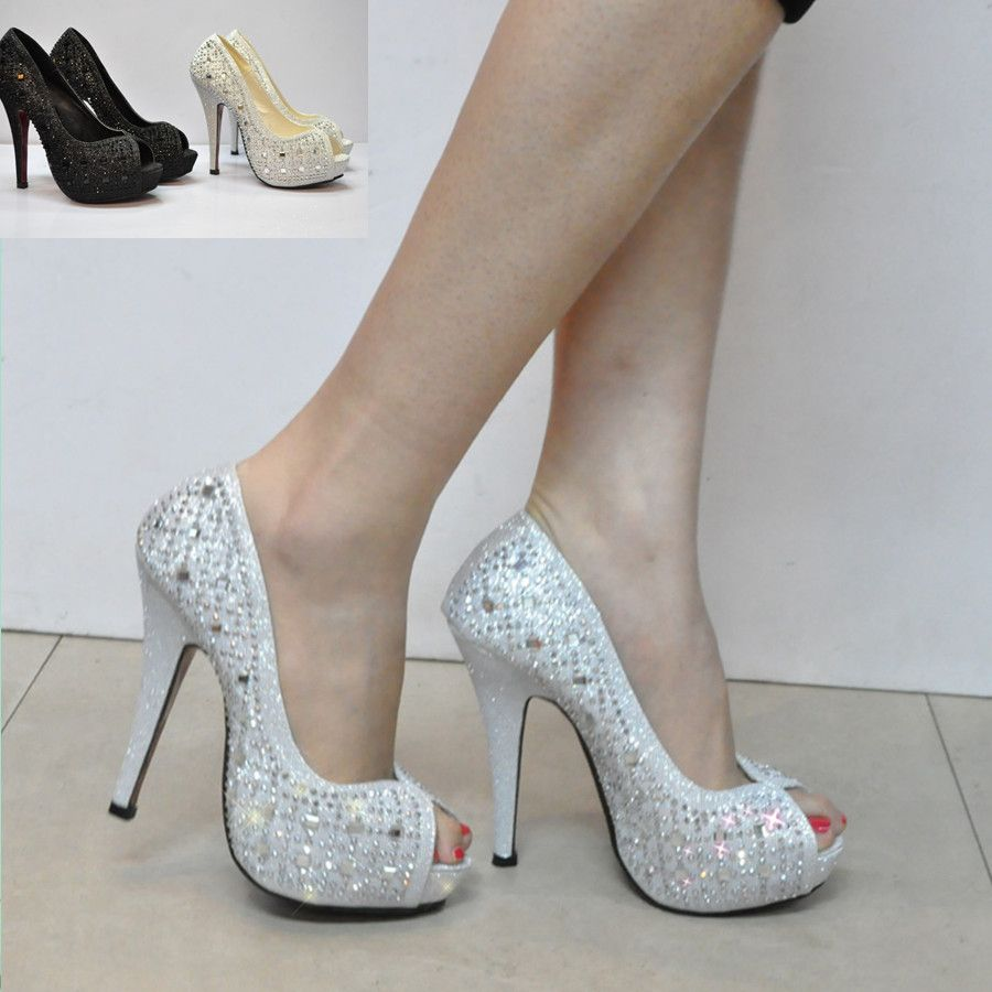 2014 Silver Bridal Wedding Shoes Rhinestone Paillette Open Toe Platform Comfortable Fashion Formal Dress