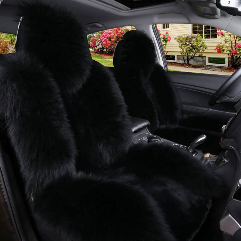 Winter Warm Automobiles Essential Universal Furry Fluffy Thick Faux Long Wool Seat Cushion Car Front Cover
