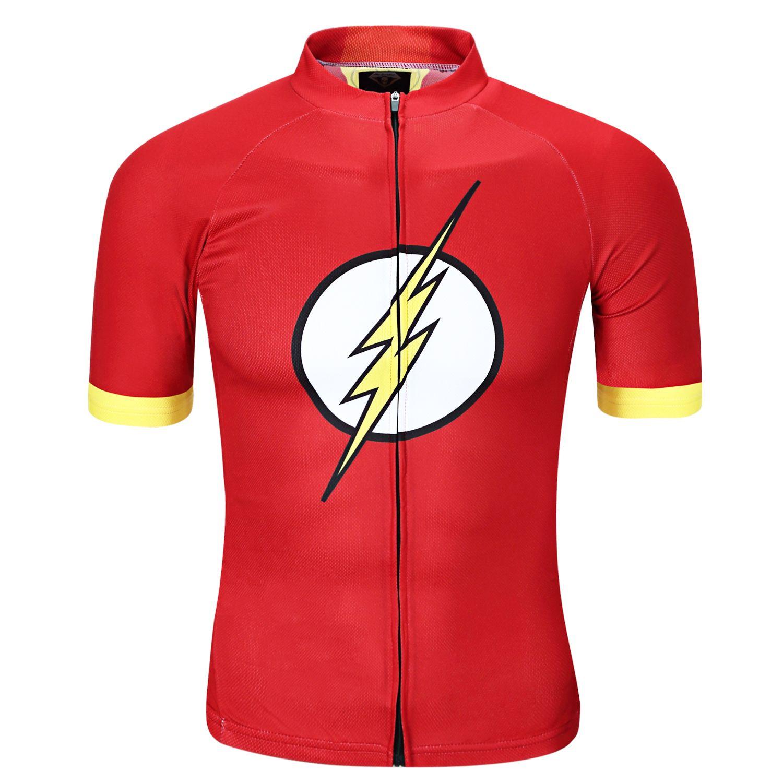 Flash red short sleeve t shirt for Men Superhero Cycling Jersey ... 320aeb37d
