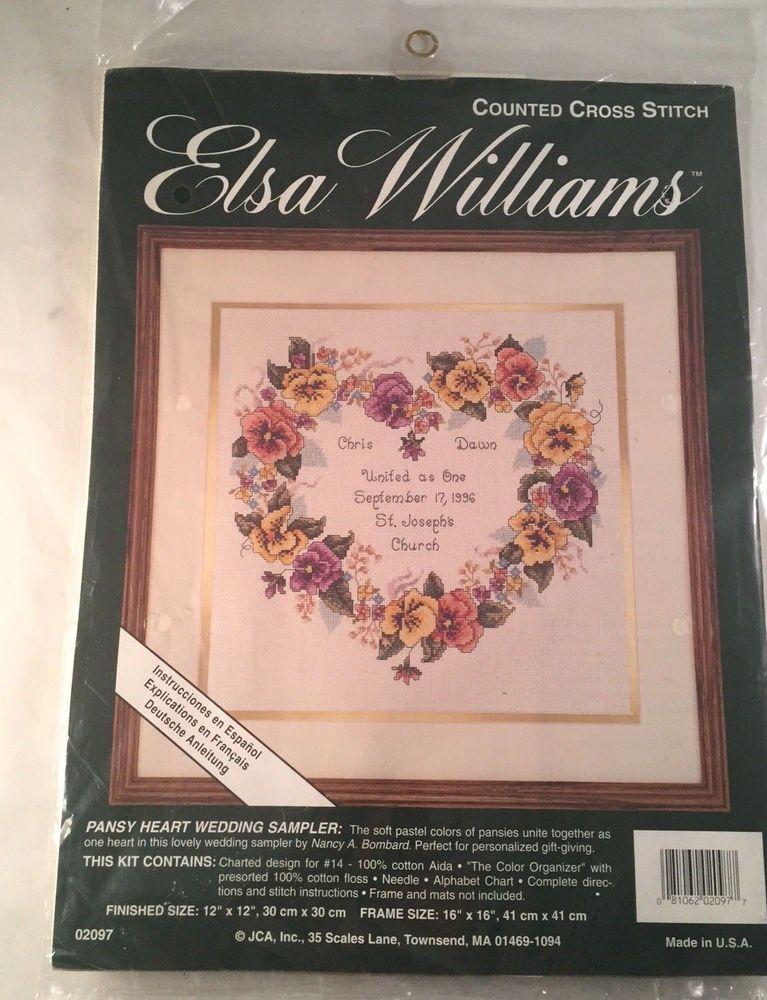 Heart Wedding Sampler Kit Elsa Williams Counted Cross Sch 12x12 02097 Elsawilliams