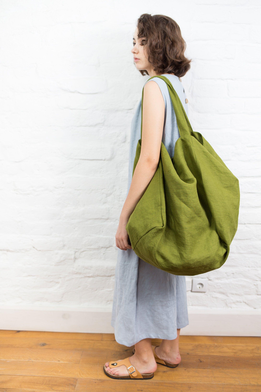 Organic Bag Linen Shopping Bag Linen Beach Bag Linen Shoulder Bag Pure Linen Tote Bag Large Tote Bag Natural Linen Tote Bag