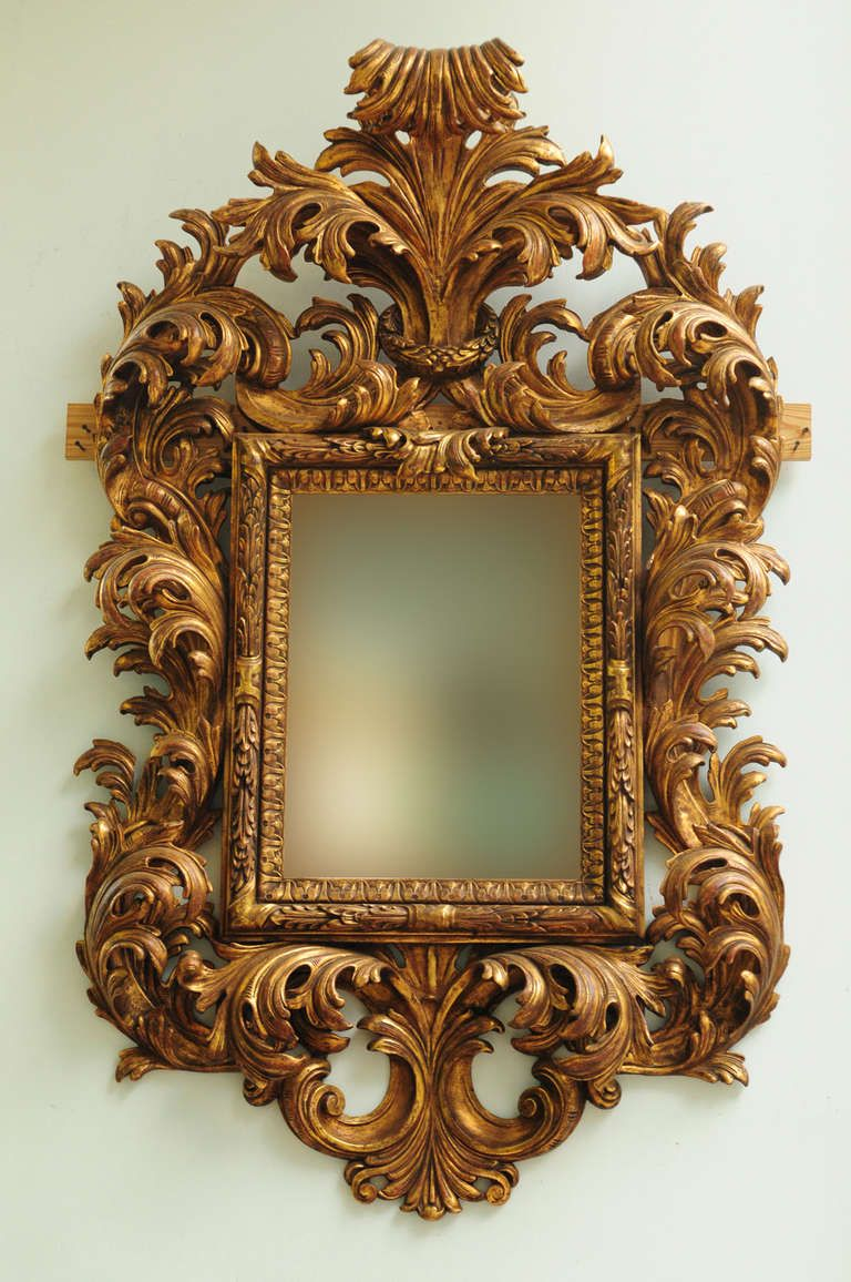 Very Fine Late 19th Century Italian Rococo Style Carved Wood Mirror 1stdibs Com Carved Wood Frame Wood Framed Mirror Antique Frames