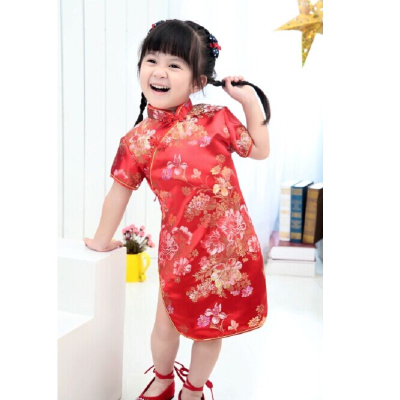 eae9d71bb Children   Baby Girls Cheongsams Qipao Chinese Dress Kids Cloths CNY ...