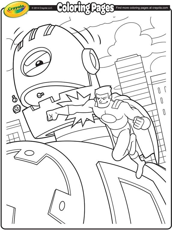 Super Hero Battling a Giant Robot kids coloring pages Pinterest - new giant coloring pages crayola