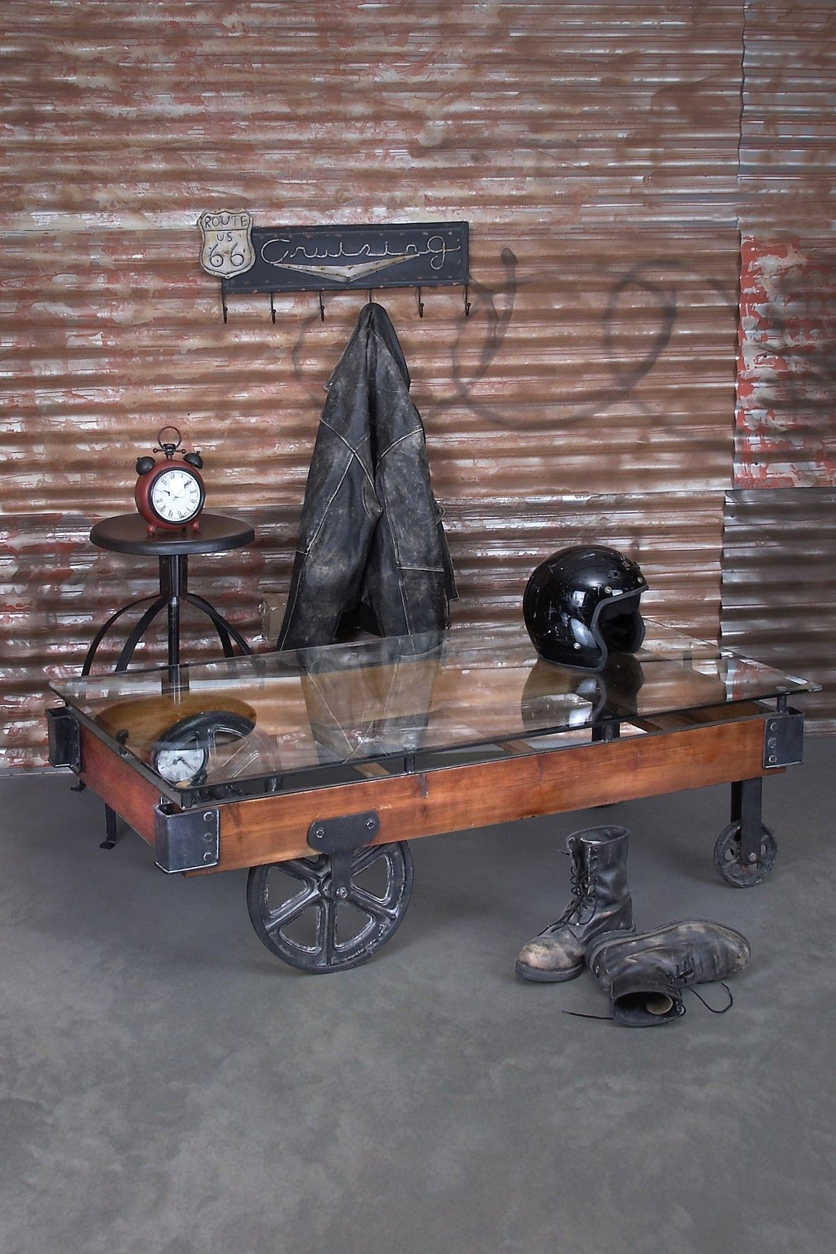 Willow Row Wood Glass Cart Coffee Table Hautelook Vintage Industrial Decor Industrial Decor Decor