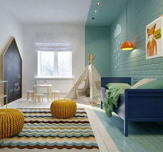 Chambre d\u0027enfant jaune et bleu - Magazine Avantages Ewen
