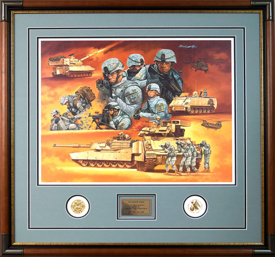This framed military print shows a collage of scenes from this framed military print shows a collage of scenes from operation iraqi freedom below the jeuxipadfo Image collections