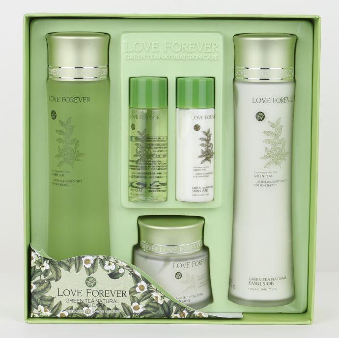 Love Forever Green Tea Natural Skin Care Set Korean Beauty Toner Emulsion Cream Natural Skin Care Oily Skin Care Skincare Set