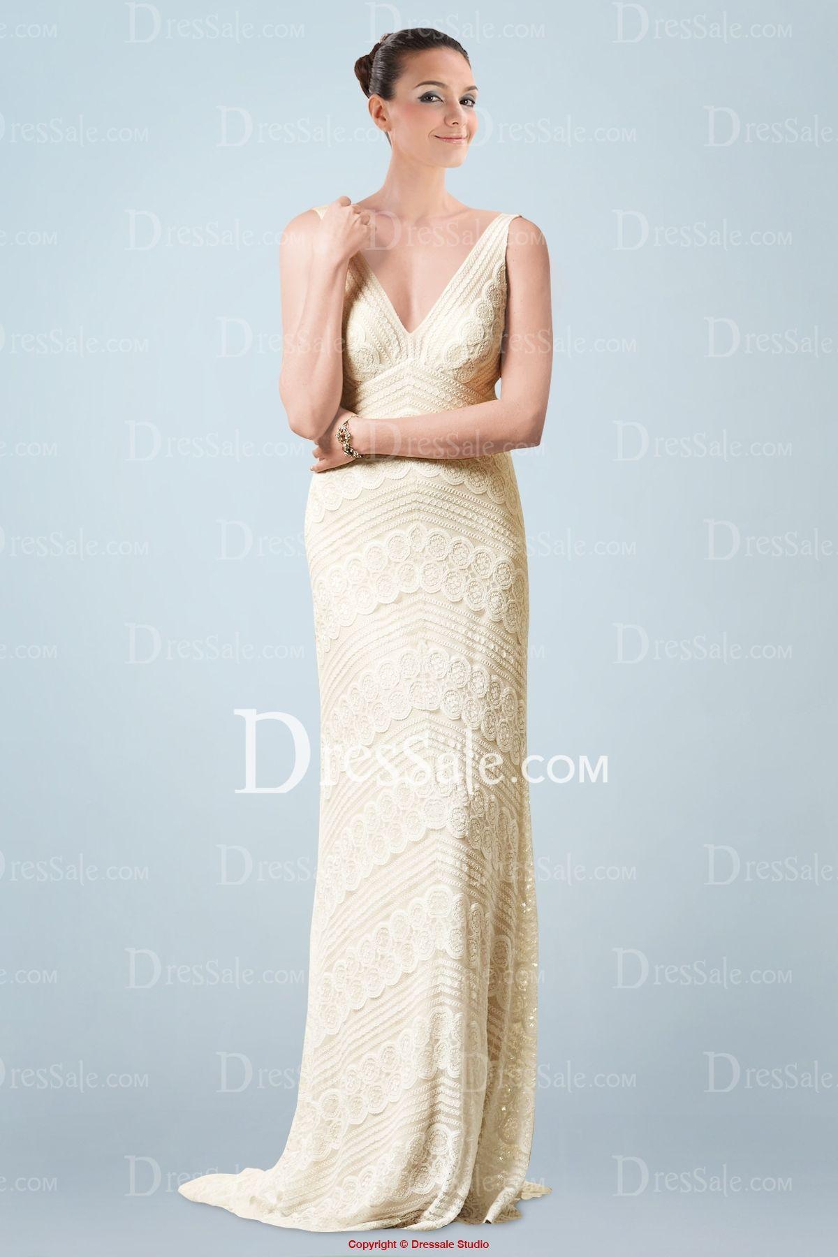 Metallic wedding dress   New Style Metallic Vneck Sleeveless Sheath Wedding Dress in