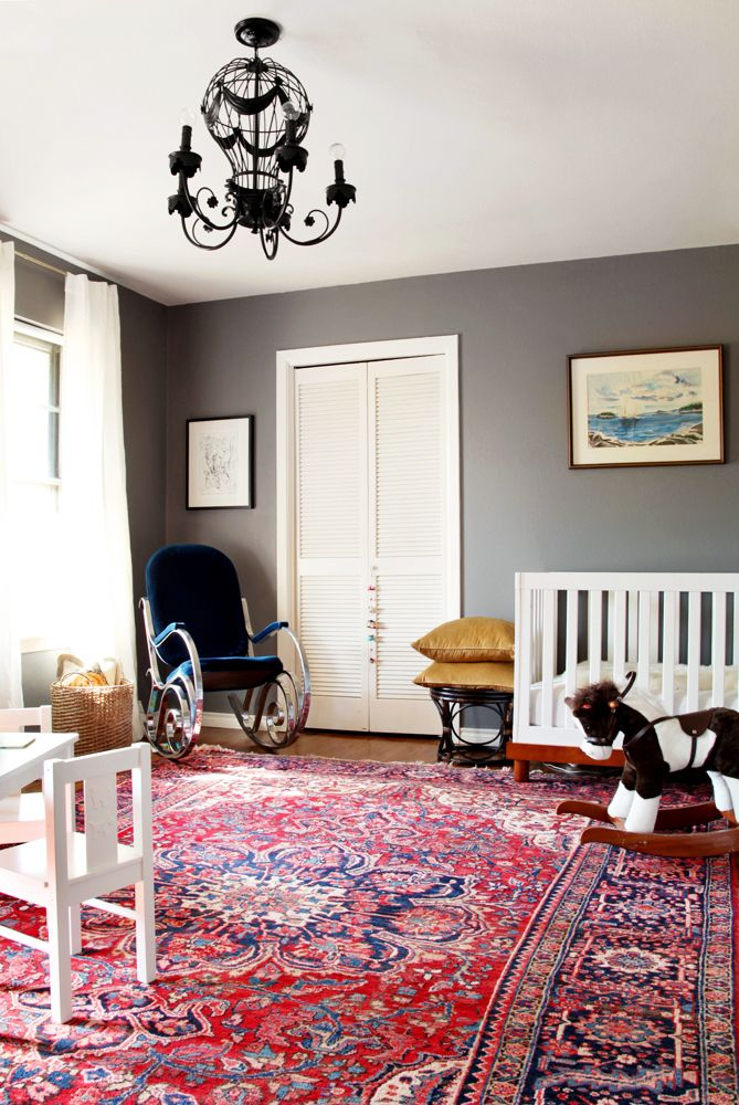 Nursery Oriental Rug Dark Walls