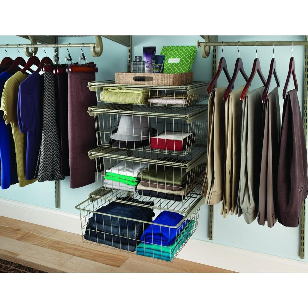 ClosetMaid ShelfTrack 21 In. X 17 In. Ventilated Wire 4 Drawer Kit In  Nickel 32815   The Home Depot