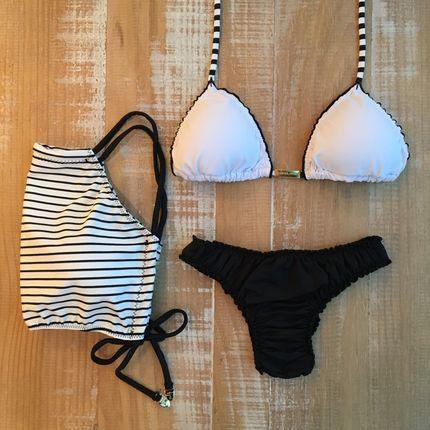 c8a71a9e3 Bíquini + Cropped Listrado - Biquíni Verão 2018 - Tendências Moda Praia  Verão Adoro Mar