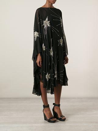 Saint Laurent vestido translúcido con detalles bordados