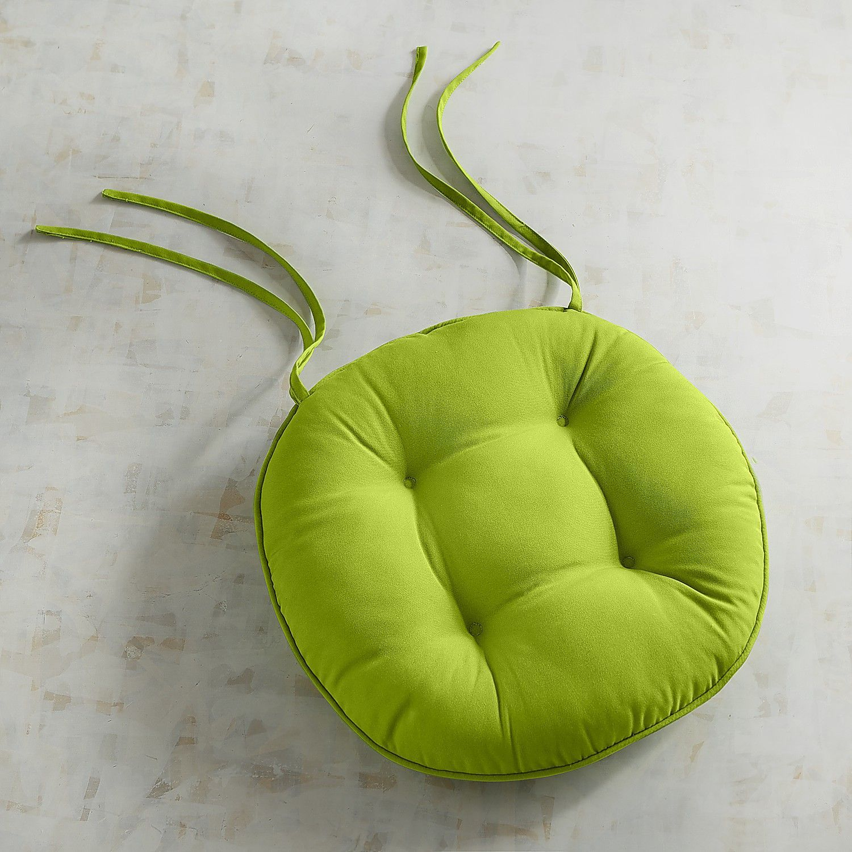 Round Bistro Dining Cushion In Cabana Citrus Green