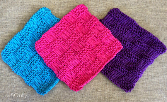 Knit Basket Weave Dishcloth Pattern Knitted by JustBeCraftyShop