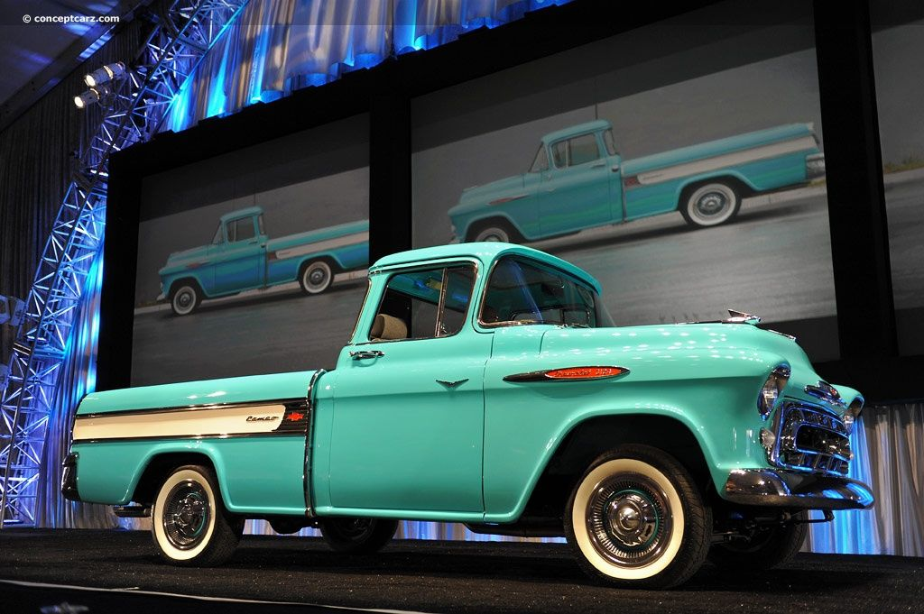 1957 Chevy Pickup Truck The Second Post War Generation Chevrolet Cameo Was Introduced On March 25th Of 1955 Chevy Pickups Vintage Trucks Chevy Pickup Trucks