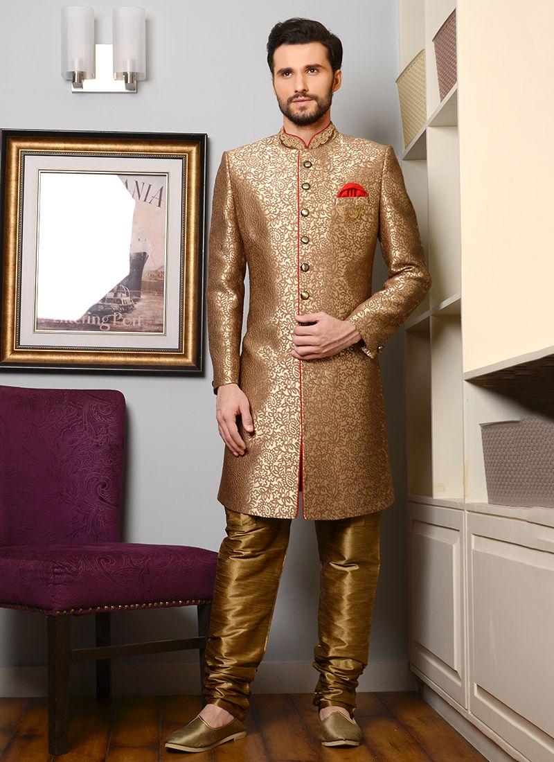 Golden banarasi silk wedding wear embroidery work indo western