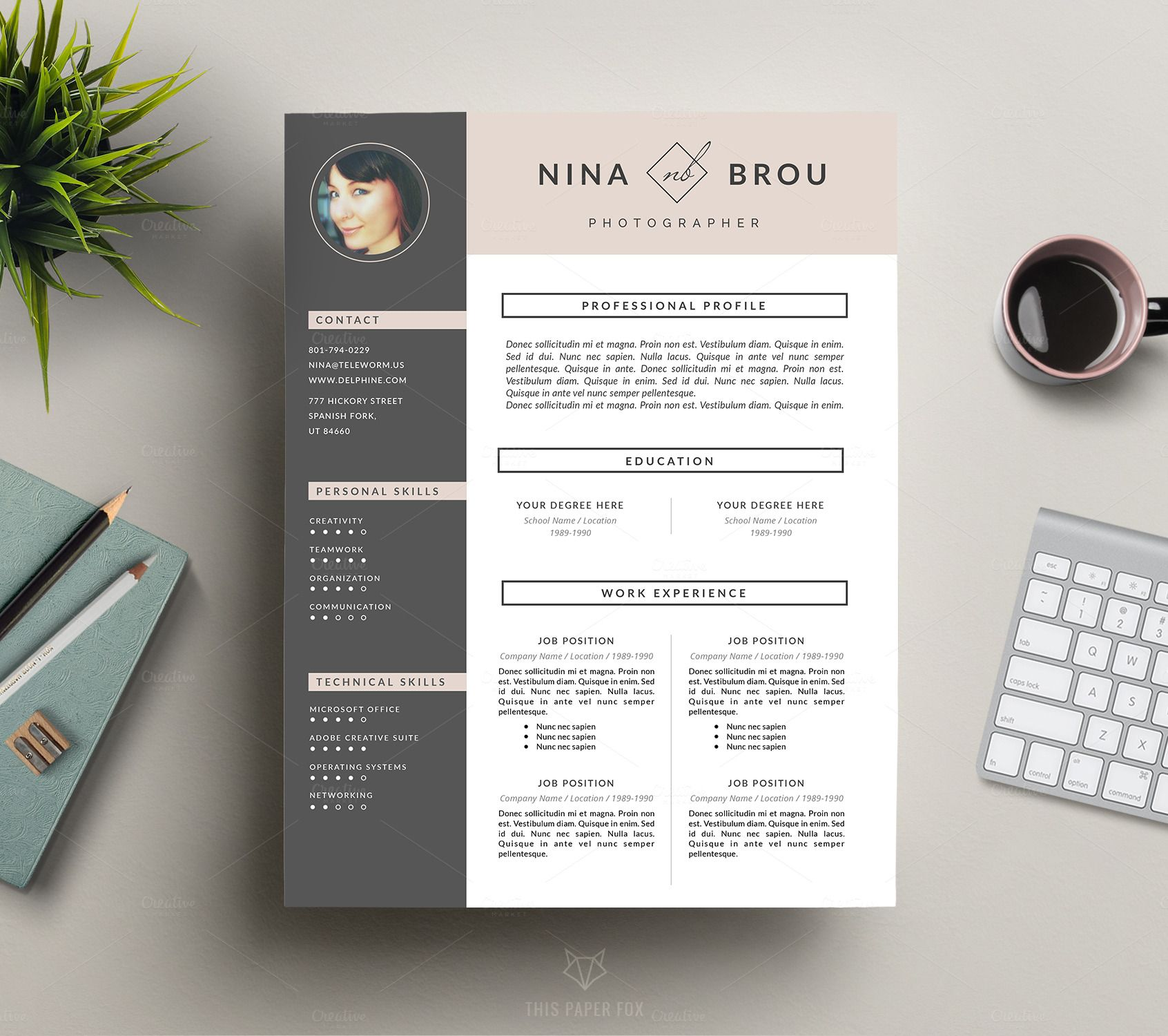 Feminine Resume Design | CV | Text layout and Branding design