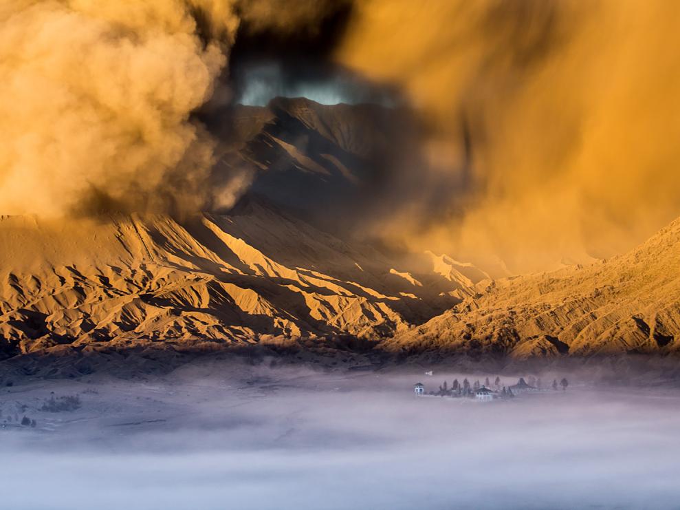 Pura Luhur Poten Temple, Mount Bromo, Java #temple #java #ponder #discover #duststorm #sunset