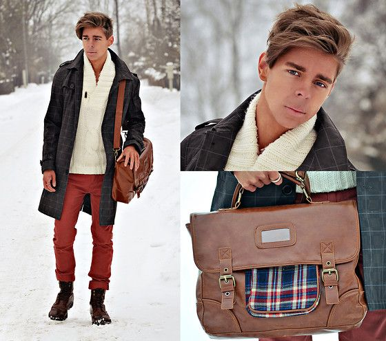 JUST KEEP IT BURNING (by Edgar Vanuska) - White Shawl Collar Jumper, Red Skinny Jeans, Brown Leather Satchel, Brown Leather Brogue Boots, Grey Trench Coat