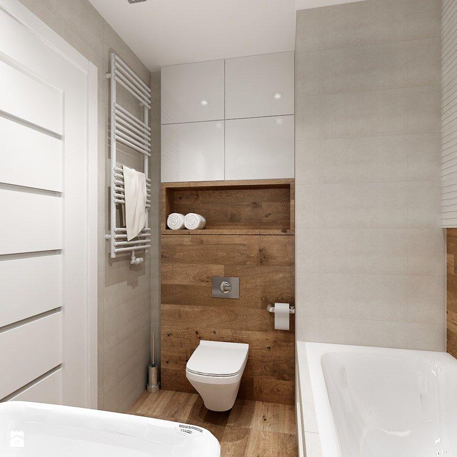 Mieszkanie W Bieli I Cegłą W Tle Mała łazienka W Bloku Bez