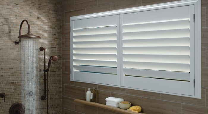 Vinyl Shutters In Bathroom Shower Bathroom Window Treatments