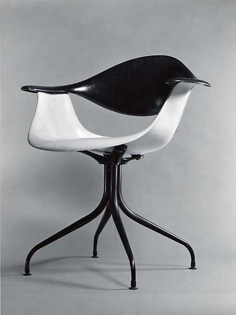 """Swaged-Leg"" Armchair Charles Pollock, 1958. Fiberglass-reinforced polyester, steel."