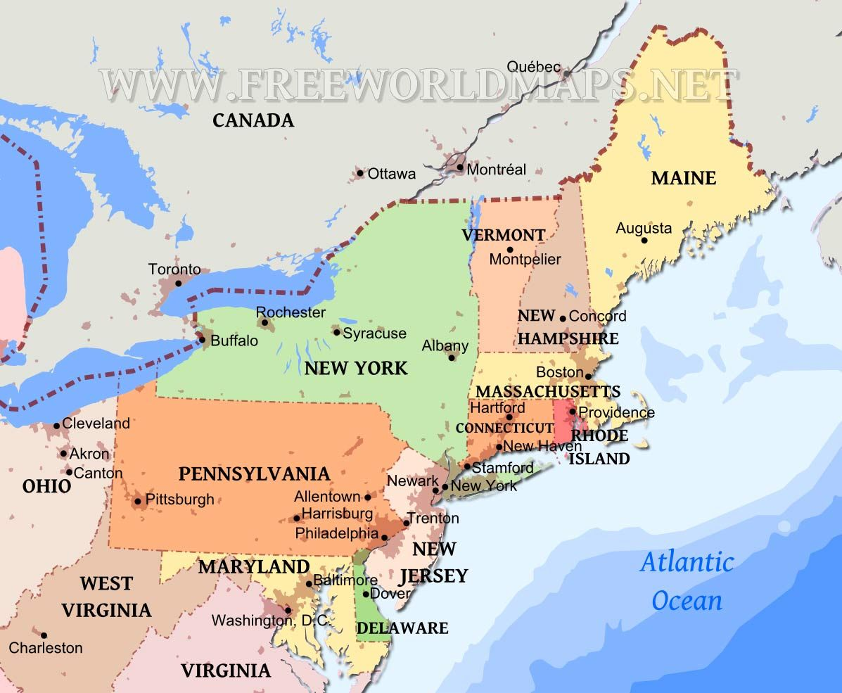 Canada And Us Map With Atlantic Ocean Northeastern US maps | United states map, Usa map, East coast usa