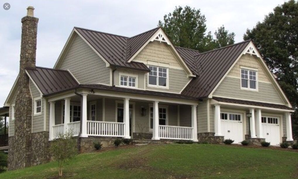 Farmhouse with metal roof house ideas exteriors for Farmhouse style siding