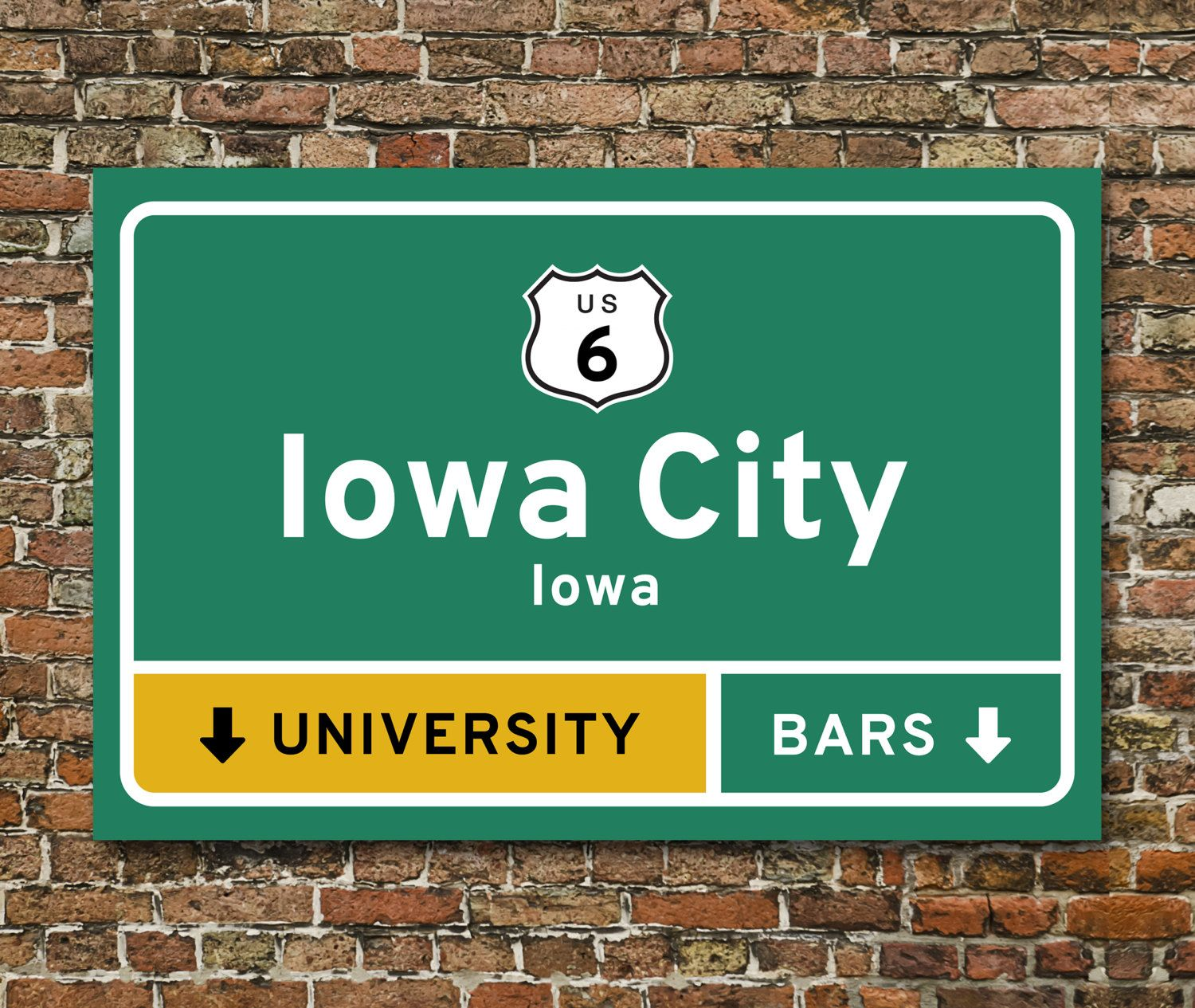 Iowa City Highway University Bars Exit Sign Print 24 X 36 By