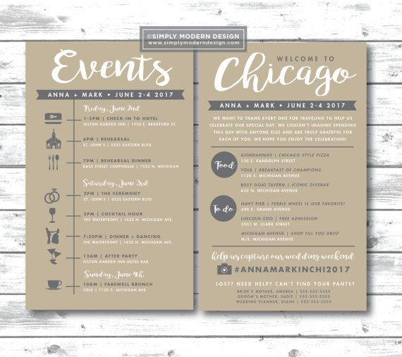 event sign, wedding itinerary, timeline, guest schedule, guest - event timeline