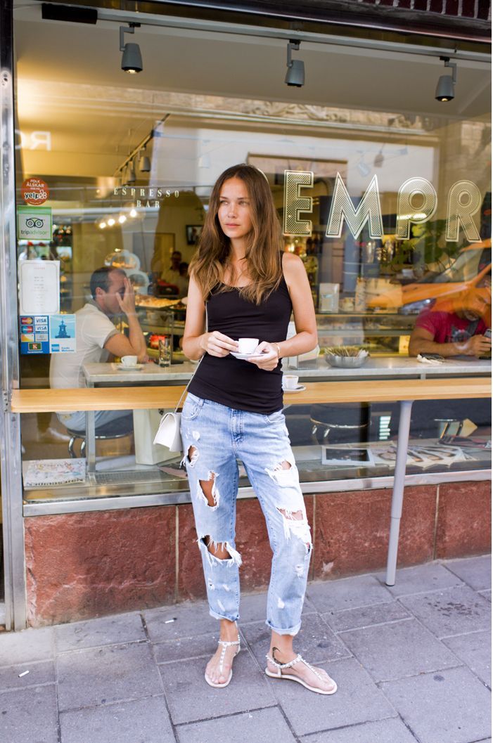 Black tank top blue ripped jeans sandals. Summer casual ...
