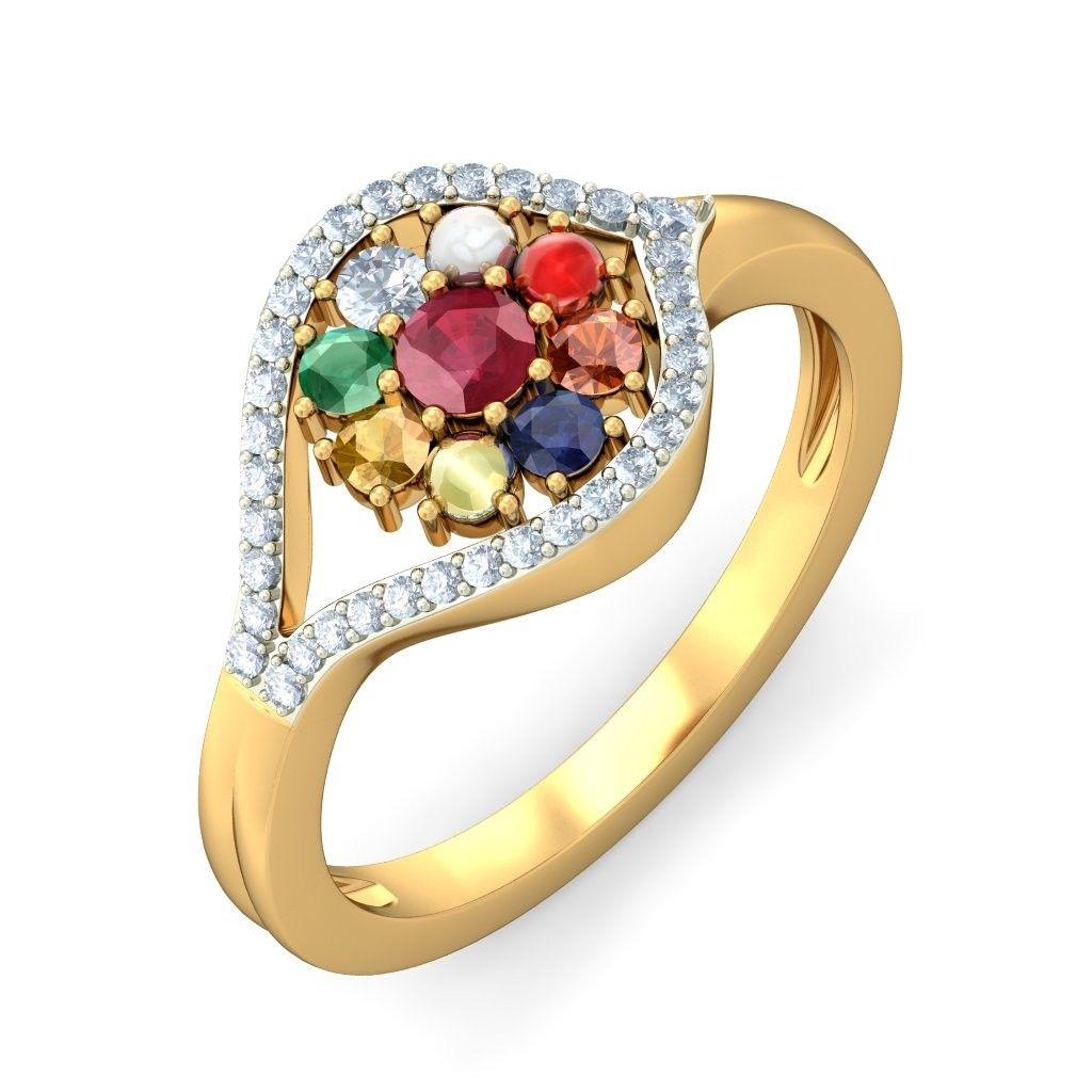 Excellent Designer Navratna Ring Made With 14k Solid Gold And Studded With  Fine Natural Navratna Gemstones