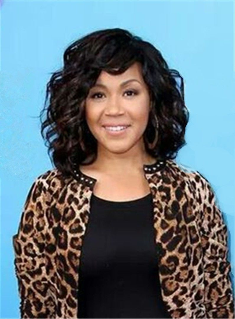 erica campbell medium curly caplesshuman hair wig 12 inches