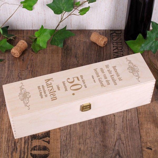 Geburtstagsgeschenk - gravierte Weinverpackung für Rotwein