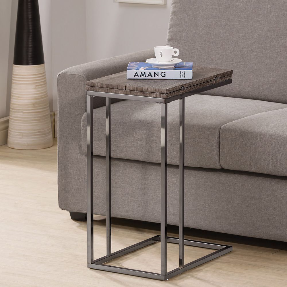 Awesome Weathered Grey Finish Expandable Side End Table