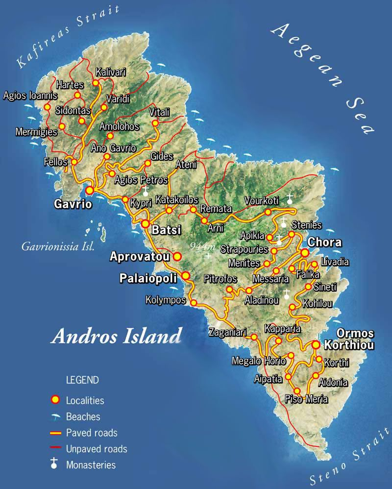 Andros Greece Map Griechenlandreisen Griechenland Inseln Griechische Inseln Karte