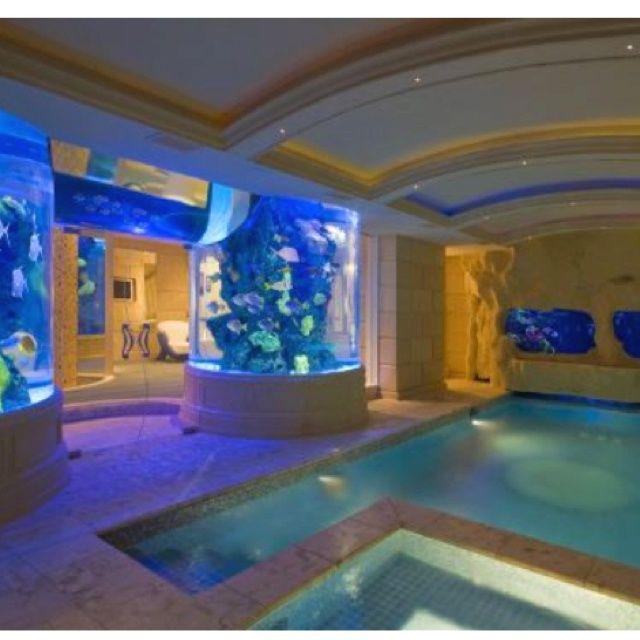 omg indoor pool with aquariums in walls - Cool Indoor Pools With Fish