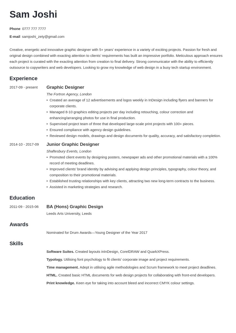 Uk Graphic Designer Cv Example Template Minimo Good Resume Examples Resume Examples Graphic Design Cv