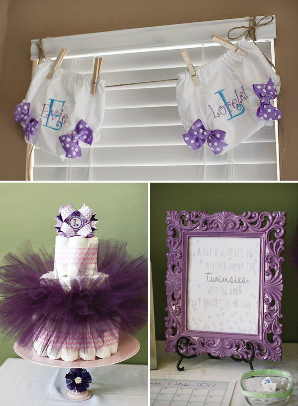 Lavender better together twin girls baby shower twin for Baby shower decoration ideas for twins