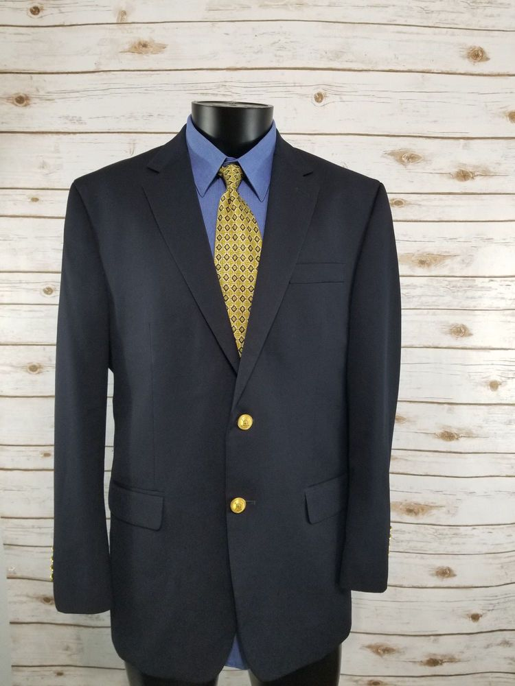 052d10039c36 Ralph Lauren Mens Navy Blazer Jacket Gold Metal 2 Button 42R Vented ...