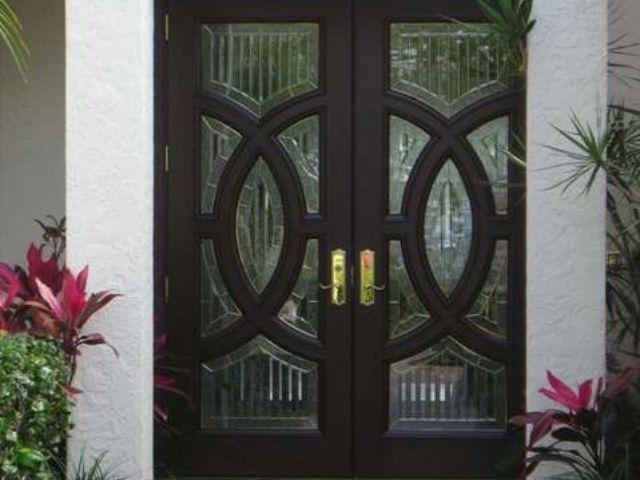 Mahogany Wood Doors with Glass – Custom Door Shop