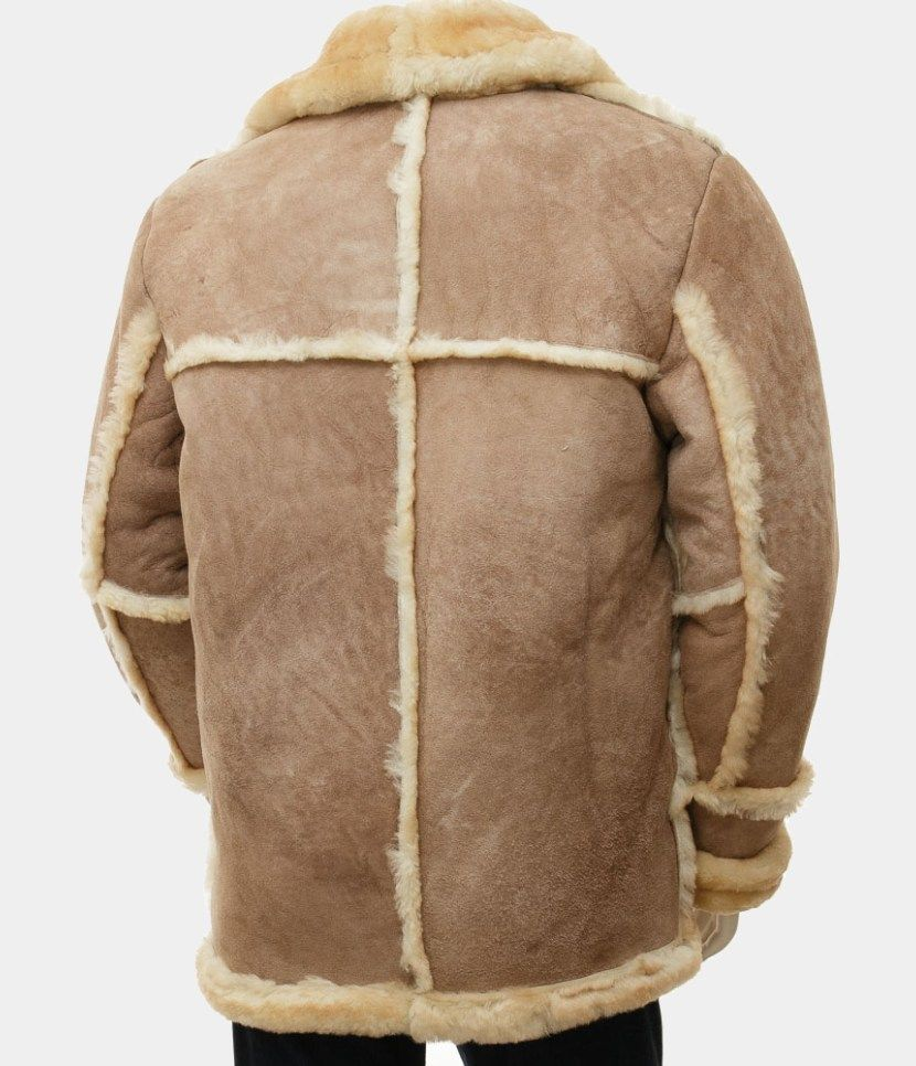brown sheepskin hood men's coat