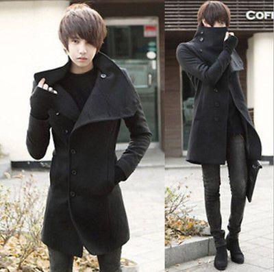 Korean Men Slim Fit Long Trench Coat Outwear Overcoat Fashion Wool Blend Winter