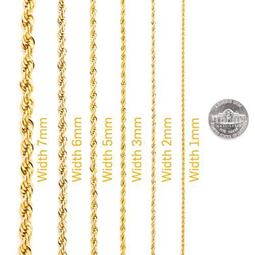 10k Solid Gold Rope Chain 1 5mm In 2020 Gold Rope Chains Solid Gold Rope Chain