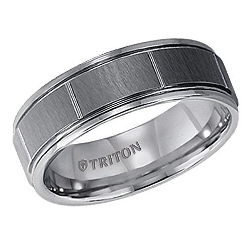 Triton 7mm 5 Stripe Comfort Fit Wedding Band with Brushed Center and Matte Grooves Solomon Brothers Fine Jewelry